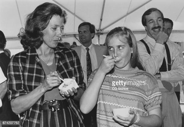 Second Lady Marilyn Tucker and Corinne Quayle at the icecream party on June 21 1990