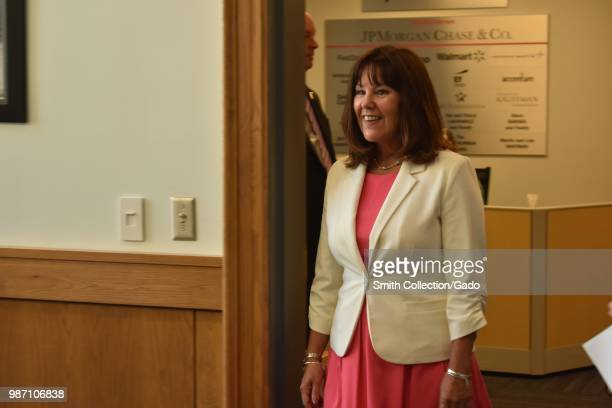 Second Lady of the United States Karen Pence entering a roundtable discussion with New York National Guard spouses at Syracuse University, Syracuse,...