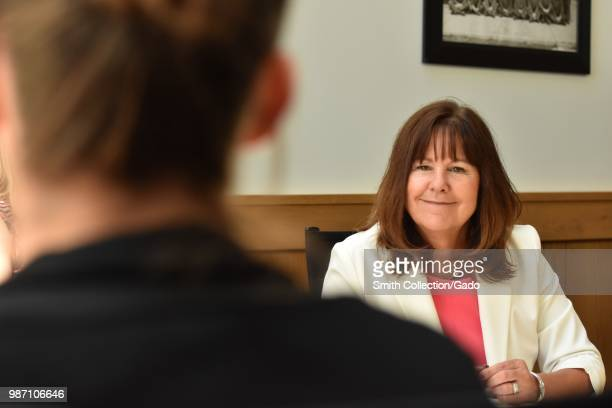Second Lady of the United States Karen Pence speaking with New York National Guard spouses at Syracuse University, Syracuse, New York, June 19, 2018....