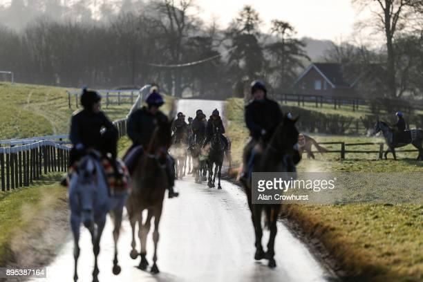 Second lot leave the yard and head for the gallops at Nicky Hendersons Seven Barrows stables on December 19 2017 in Lambourn United Kingdom