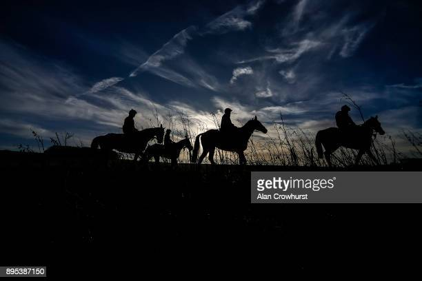 Second lot return after galloping at Nicky Hendersons Seven Barrows stables on December 19 2017 in Lambourn United Kingdom