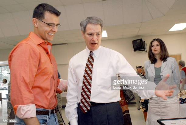 Second Lt Ilario Pantano speaks with North Carolina Third District Congressman Walter Jones June 3 2005 in Wilmington North Carolina Pantano is the...