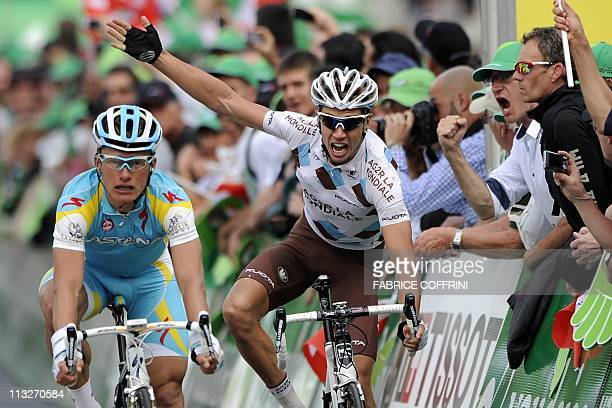 Second of the stage France's Mikael Cherel reacts after he lost the final sprint behind winner Kazakh Alexandre Vinokourov at the third stage of the...