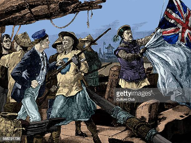 Chinese officials pulling down British flag on ship the Arrow. On 8 October 1856, Qing officials boared Hong Kong - registered Arrow and arrested...