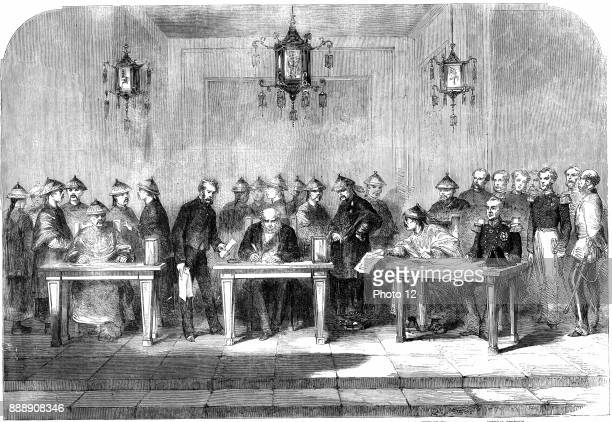 Second Opium War Lord Elgin left signing the Treaty of Tainjin which brought to a formal end the Second Opium War between Britain and China 16 June...