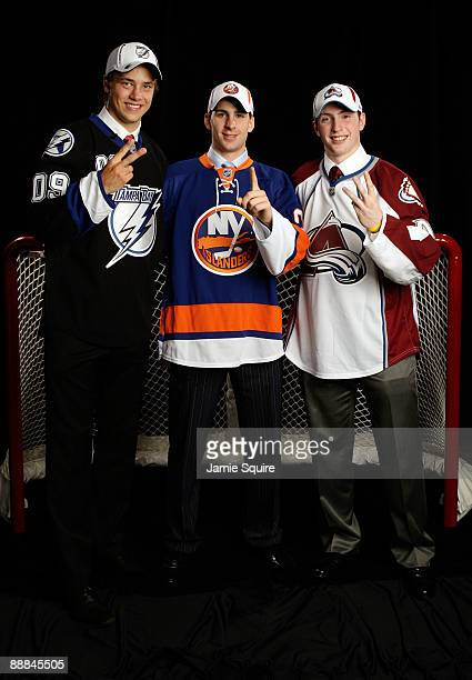 Second overall draft pick Victor Hedman of the Tampa Bay Lightning first overall draft pick John Tavares of the New York Islander and third overall...
