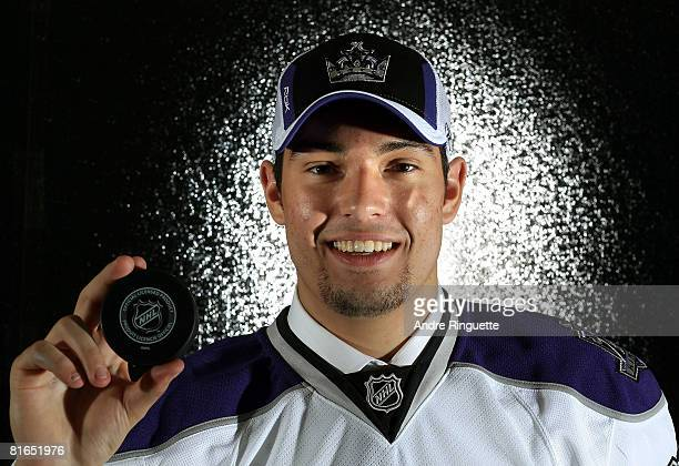 Second overall pick Drew Doughty of the Los Angeles Kings poses for a photograph after being selected during the 2008 NHL Entry Draft at Scotiabank...