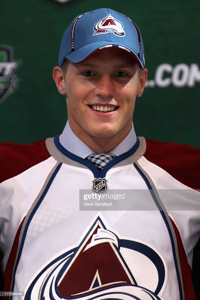 Second overall pick Gabriel Landeskog by the Colorado Avalanche stands on the podium for a photo during day one of the 2011 NHL Entry Draft at Xcel Energy Center on June 24, 2011 in St Paul, Minnesota.