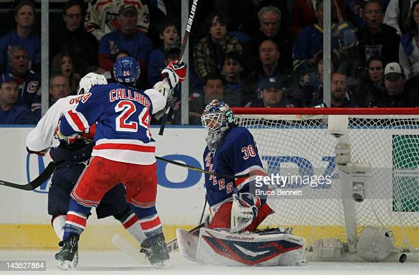 A second period goal by Jason Chimera of the Washington Capitals gets past Henrik Lundqvist and Ryan Callahan of the New York Rangers as Alex...