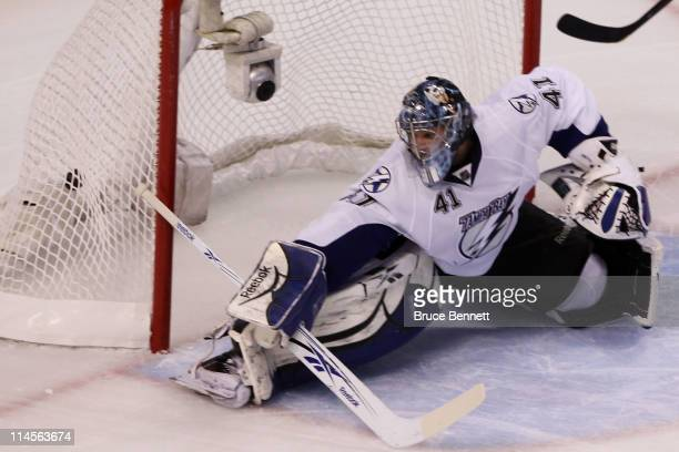 A second period goal shot by Nathan Horton of the Boston Bruins hits the back of the net past Mike Smith of the Tampa Bay Lightning in Game Five of...