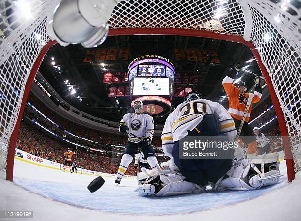 A second period power play goal shot by Danny Briere of the Philadelphia Flyers gets past Ryan Miller of the Buffalo Sabres in Game Seven of the...