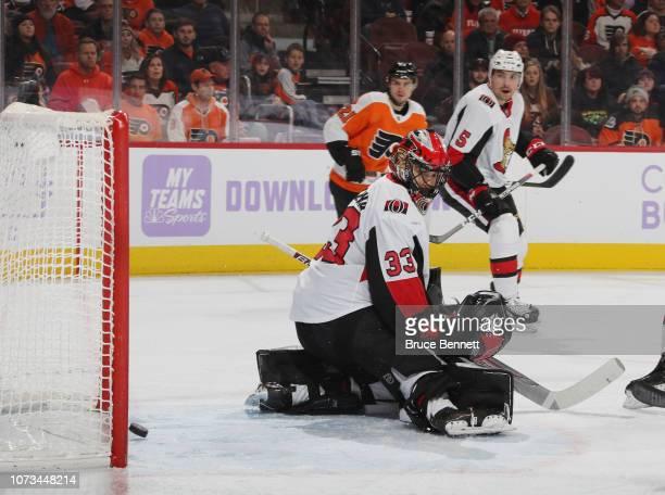 A second period shot by Radko Gudas of the Philadelphia Flyers eludes Mike McKenna of the Ottawa Senators at the Wells Fargo Center on November 27...