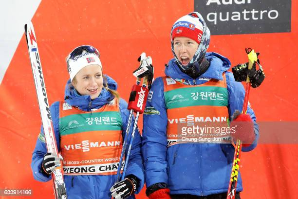 Second place Anna Svendsen and Silje Oeyre Slind of Norway celebrate during a flower ceremony in the Ladies 6X1.4km Team Sprint Final during the FIS...