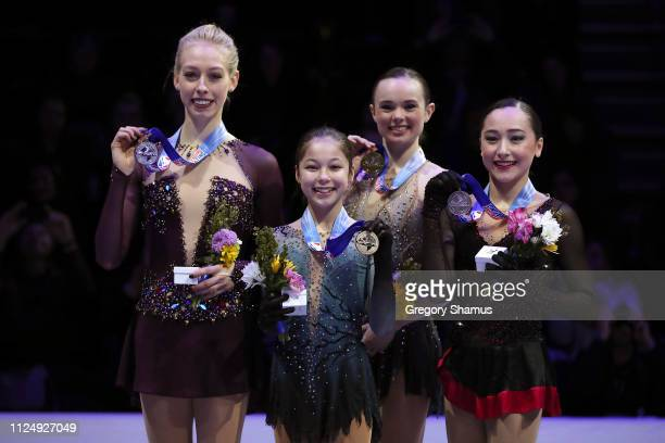 Second place Bradie Tennell champion Alysa Liu third place Mariah Bell and fourth place Hanna Harrell pose with their medals after the Championship...