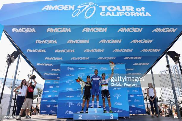 Second place Caleb Ewan of Australia and Team Mitchelton-Scott, first place Fernando Gaviria of Colombia and Team Quick-Step Floors and third place...