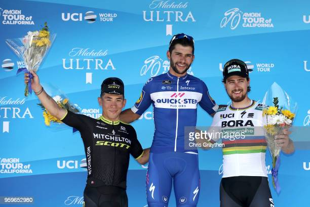 Second place Caleb Ewan of Australia riding for Team MitcheltonScott stage winner Fernando Gaviria of Colombia riding for Team QuickStep Floors and...