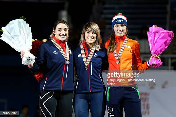 Second place Charlotte Gilmartin of Great Britain first place Elise Christie of Great Britain and third place Suzanne Schulting of the Netherlands...