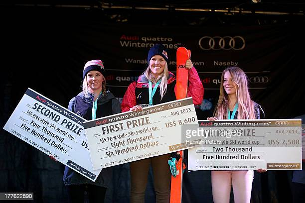 Second place Dara Howell of Canada first place Tiril Sjaastad Christiansen of Norway and Lisa Zimmermann of Germany pose on the podium after the...