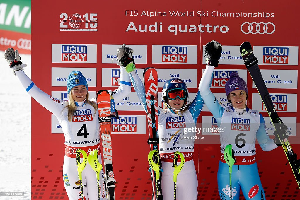 Second place finisher Frida Hansdotter of Sweden, first place finisher Mikaela Shiffrin of the United States, and third place finisher Sarka Strachova of the Czech Republic celebrate after the Ladies' Slalom on the Golden Eagle racecourse on Day 13 of the 2015 FIS Alpine World Ski Championships on February 14, 2015 in Beaver Creek, Colorado.