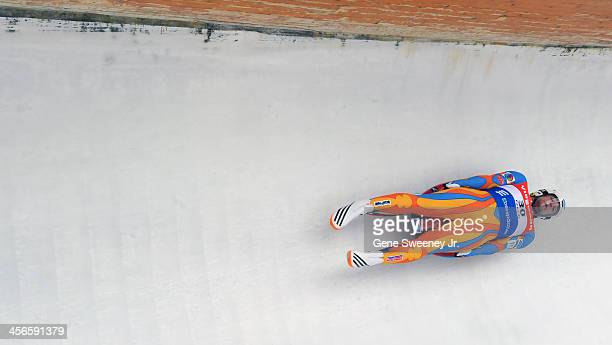 Second place finisher in the Men's Luge competition Chris Mazdzer of the United States navigates turn eleven in his second run during day 2 of the...