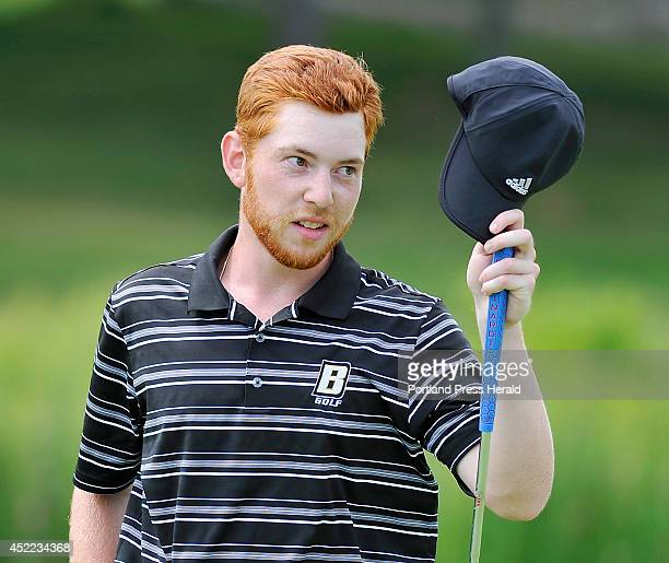 Second place finisher Joe Walp gives the tip of the hat to Andrew Slattery after missing his birdie put on 18 that would have tied Slattery in the...