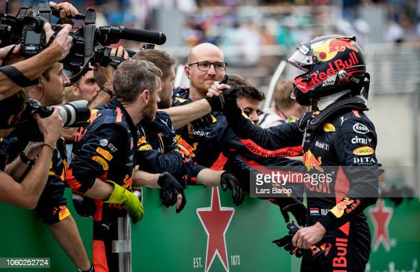 Second place finisher Max Verstappen of Netherlands and Red Bull Racing looks on in parc ferme during the Formula One Grand Prix of Brazil at...