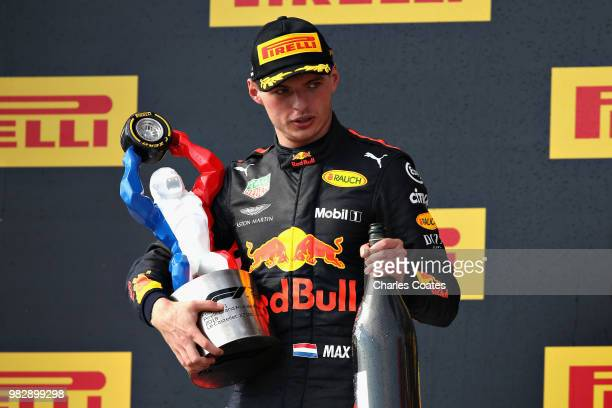 Second place finisher Max Verstappen of Netherlands and Red Bull Racing celebrates on the podium during the Formula One Grand Prix of France at...