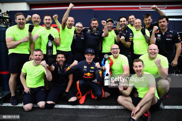Second place finisher Max Verstappen of Netherlands and Red Bull Racing celebrates with his team after the Formula One Grand Prix of France at...