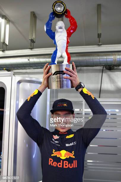 Second place finisher Max Verstappen of Netherlands and Red Bull Racing celebrates with his trophy after the Formula One Grand Prix of France at...