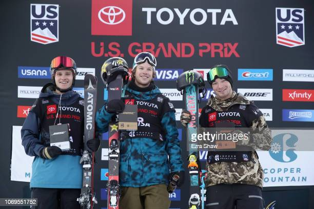 Second place finisher Miguel Porteous of New Zealand winner Aaron Blunck of the United States and third place finisher David Wise of the United...