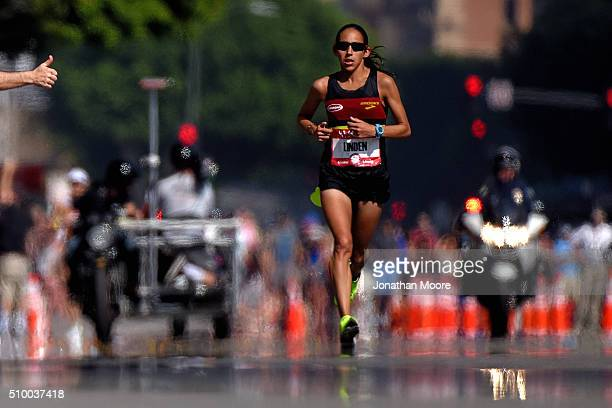 Second place finisher of the women's race Desiree Linden approaches the finish line during the US Olympic Marathon Team Trials on February 13 2016 in...