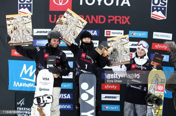 Second place finisher Patrick Burgener of Switzerland first place finisher Yuto Totsuka of Japan and third place finisher Derek Livingston of Canada...
