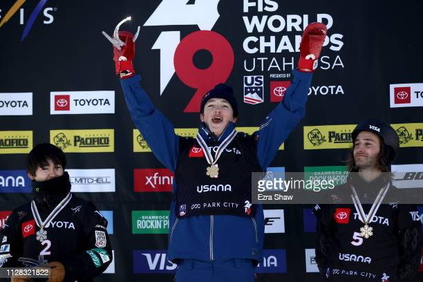 Second place finisher Yuto Totsuka of Japan gold medal winner Scotty James of Australia and third place finisher Patrick Burgener of Switzerland...