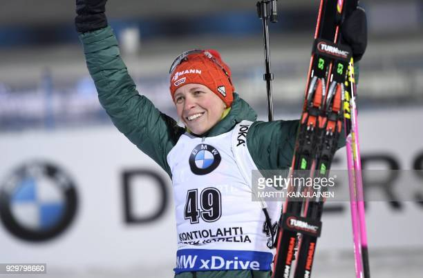 Second place Franziska Hildebrand of Germany reacts after the ladies 75km sprint event at the IBU Biathlon World Cup in Kontiolahti Finland on March...