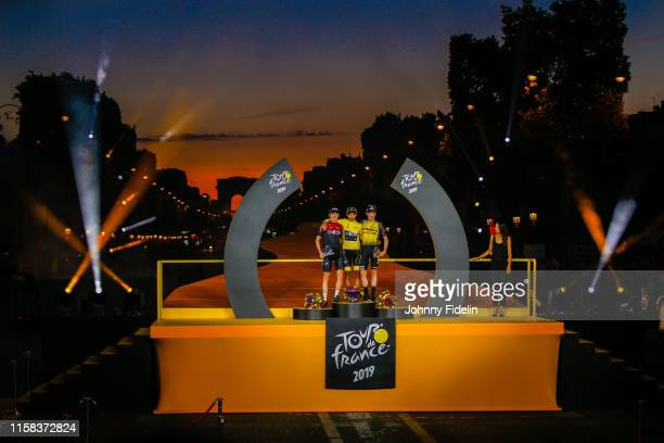 Second place Geraint Thomas of Great Britain and Team Ineos winner of Tour de France 2019 yellow jersey Egan Bernal Gomez of Colombia and Team Ineos...