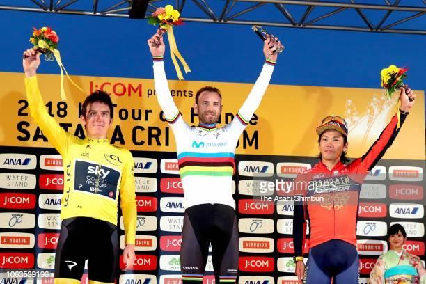 Second place Geraint Thomas of Great Britain and Team Sky, winner Alejandro Valverde of Spain and Movistar Team and third place Yukiya Arashiro of...