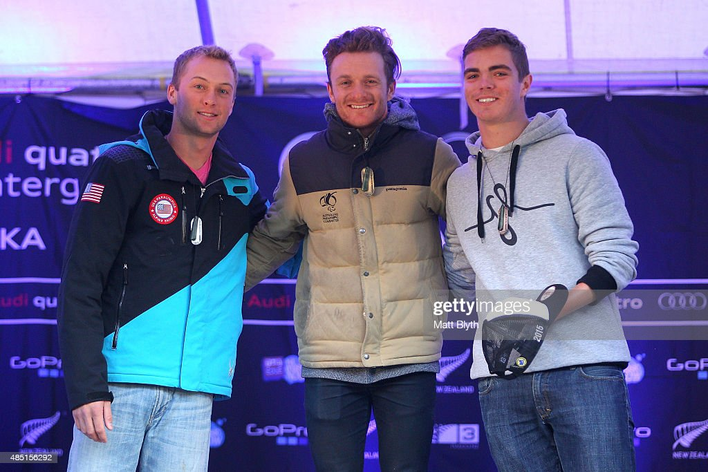 Second place James Stanton of the United States, first place Mitchell Gourley of Australia and James Whitley of Great Britain pose during the medal ceremony for the Men Giant Slalom Standing in the IPC Alpine Adaptive Giant Slalom Southern Hemisphere Cup during the Winter Games NZ on August 25, 2015 in Queenstown, New Zealand.
