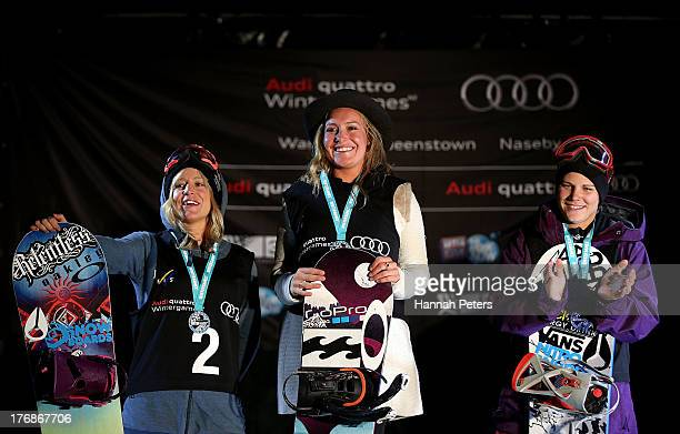 Second place Jenny Jones of Great Britain first place Jamie Anderson of the USA and Cheryl Maas of the Netherlands celebrate on the podium after the...