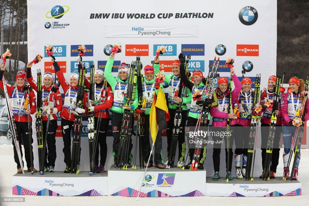Second place Kaia Woeien Nicolaisen, Hilde Fenne, Tiril Eckhoff and Marte Olsbu of Norway, first place Franziska Hildebrand, Nadine Horchler, Maren Hammerschmidt and Denise Herrmann of Germany and third place Jessica Jislova, Eva Puskarcikova, Lucie Charvatova and Gabriela Koukalova Czech Republic celebrate in the medal ceremony for the Women's 4x6km relay during the BMW IBU World Cup Biathlon 2017 - test event for PyeongChang 2018 Winter Olympic Games at Alpensia Biathlon Centre on March 5, 2017 in Pyeongchang-gun, South Korea.