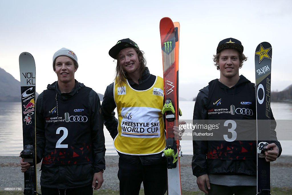 Second place Oystein Braaten of Norway, first place James Woods of Great Britain and third place Joss Christensen of the United States pose of the podium during the medal ceremony for the FIS Freestyle Ski World Cup Slopestyle Finals during the Winter Games NZ on August 28, 2015 in Wanaka, New Zealand.