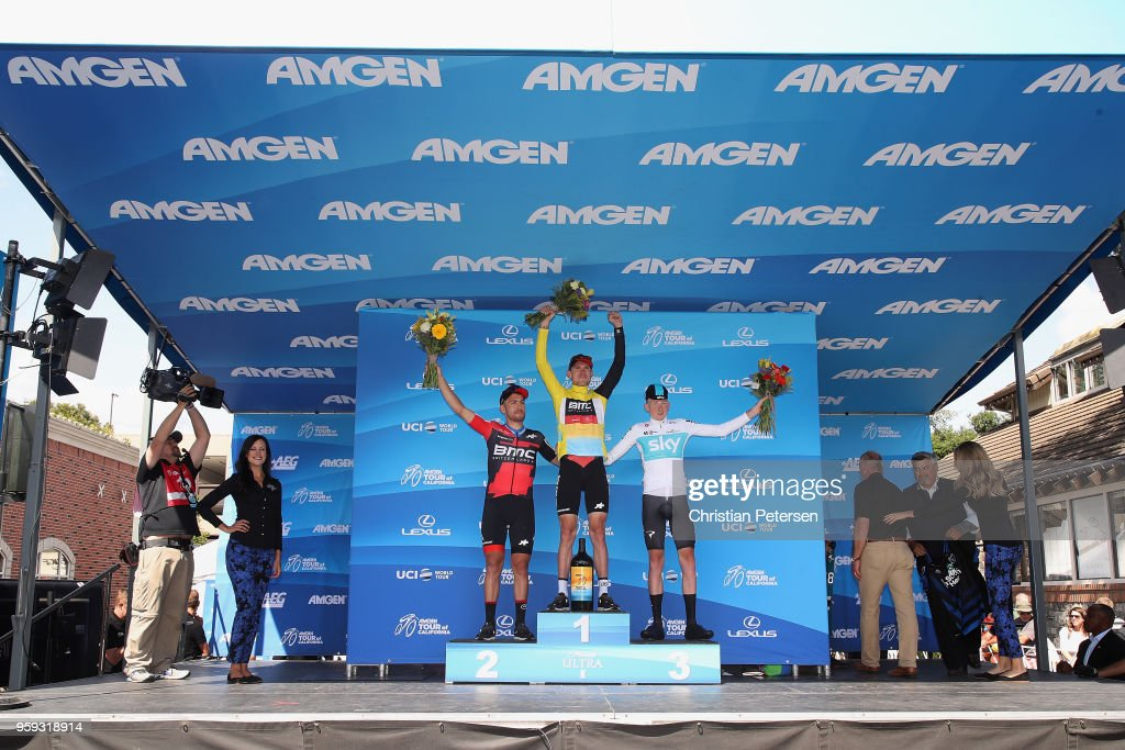 Second place Patrick Bevin of New Zealand and BMC Racing Team, first place Tejay van Garderen of The United States and BMC Racing Team and third place Tao Geoghegan Hart of Great Britain and Team Sky pose on-stage following stage four of the 13th Amgen Tour of California 2018 San Jose / Morgan Hill a 34.7 km Individual Time Trial on May 16, 2018 in Morgan Hill, California.