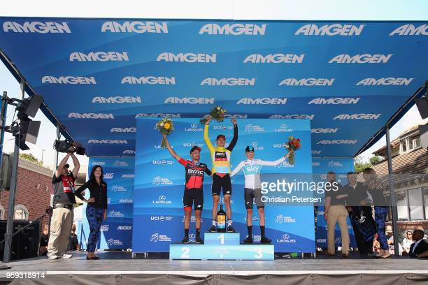 Second place Patrick Bevin of New Zealand and BMC Racing Team, first place Tejay van Garderen of The United States and BMC Racing Team and third...