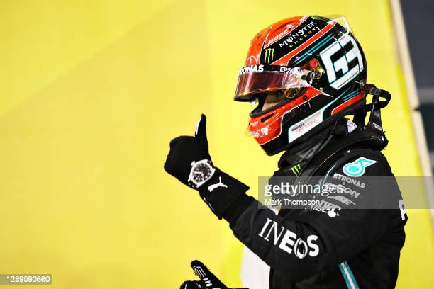 Second place qualifier George Russell of Great Britain and Mercedes GP gives a thumbs up in parc ferme during qualifying ahead of the F1 Grand Prix...