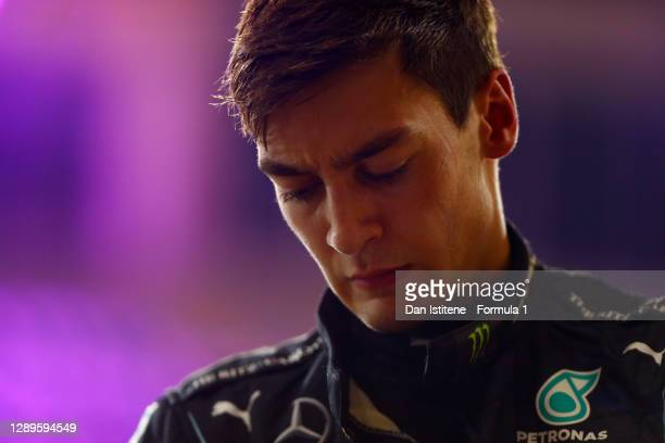 Second place qualifier George Russell of Great Britain and Mercedes GP looks on in parc ferme during qualifying ahead of the F1 Grand Prix of Sakhir...