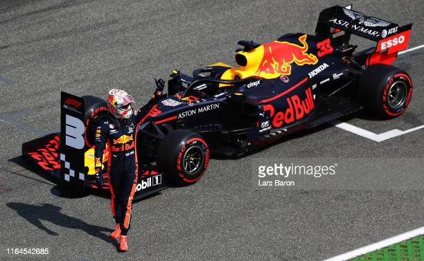 Second place qualifier Max Verstappen of Netherlands and Red Bull Racing celebrates in parc ferme during qualifying for the F1 Grand Prix of Germany...