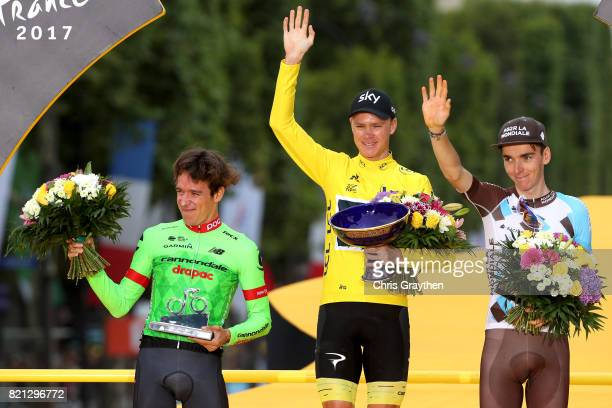 Second place Rigoberto Uran of Colombia riding for Cannondale Drapac, overall winner Christopher Froome of Great Britain riding for Team Sky and...
