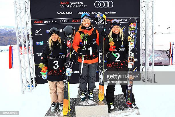Second place Silvia Bertagna of Italy first place Tiril Sjaastad Christiansen of Norway and third place Lisa Zimmermann of Germany pose during the...