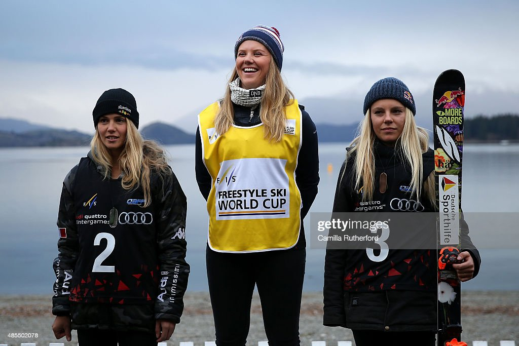 Second place Silvia Bertagna of Italy, first place Tiril Sjaastad Christiansen of Norway and third place Lisa Zimmermann of Germany pose on the podium during the medal ceremony for the FIS Freestyle Ski World Cup Slopestyle Finals during the Winter Games NZ on August 28, 2015 in Wanaka, New Zealand.