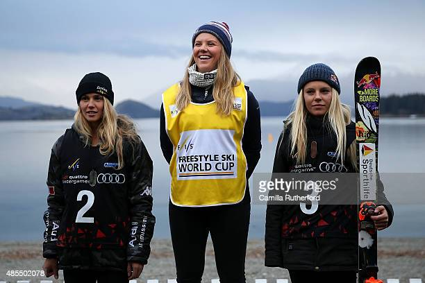 Second place Silvia Bertagna of Italy first place Tiril Sjaastad Christiansen of Norway and third place Lisa Zimmermann of Germany pose on the podium...