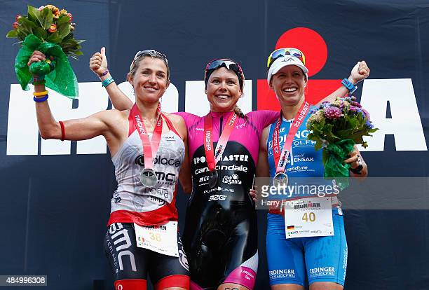 Second place Sofie Goos of Belgium first place Michelle Vesterby of Denmark and third place Sonja Tajsich of Germany celebrate on the podium...